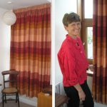 Nikky and her new curtain made after coming along to the 'Curtains for Beginners' workshop