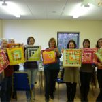 Happy people at the 'Log Cabin Style Patchwork Cushion Cover' workshop