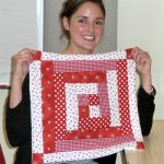 Laura and her 'log-cabin style' patchwork cushion cover