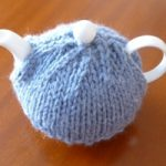 Tea cosy made by Hannah after being inspired at out 'Knitting for Beginner's workshop
