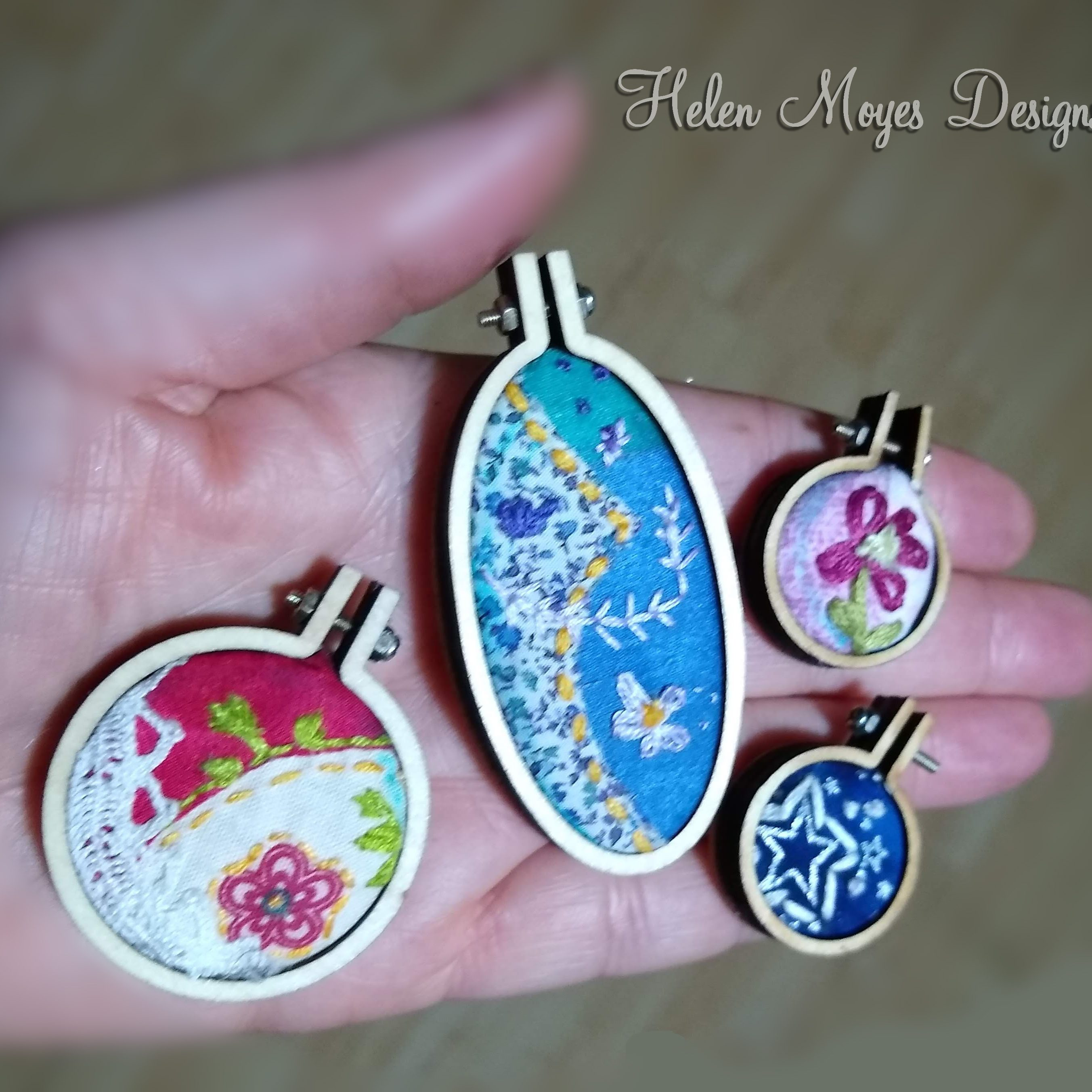 Helen Moyes Designs Tiny Stitches in Mini Hoops